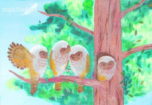 4羽の梟《アクリル原画キャンバスsizeSM》
