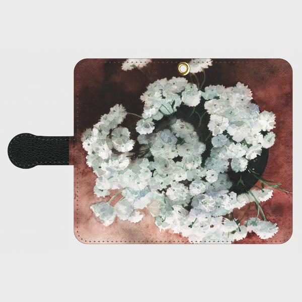 【受注生産】黒革手帳型スマホケール「アキレアノブレッサ」S.Mサイズ