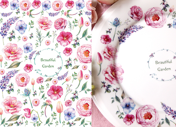 水彩 ビューティフルガーデン beautifulgarden A4(ポーセリンアート用転写紙 花)