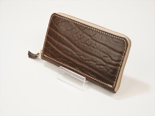 ラウンドファスナー 茶色 牛革ショルダー Leather wallet