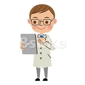 イラスト素材:タブレット端末を使う医者・ドクター(ベクター・JPG)