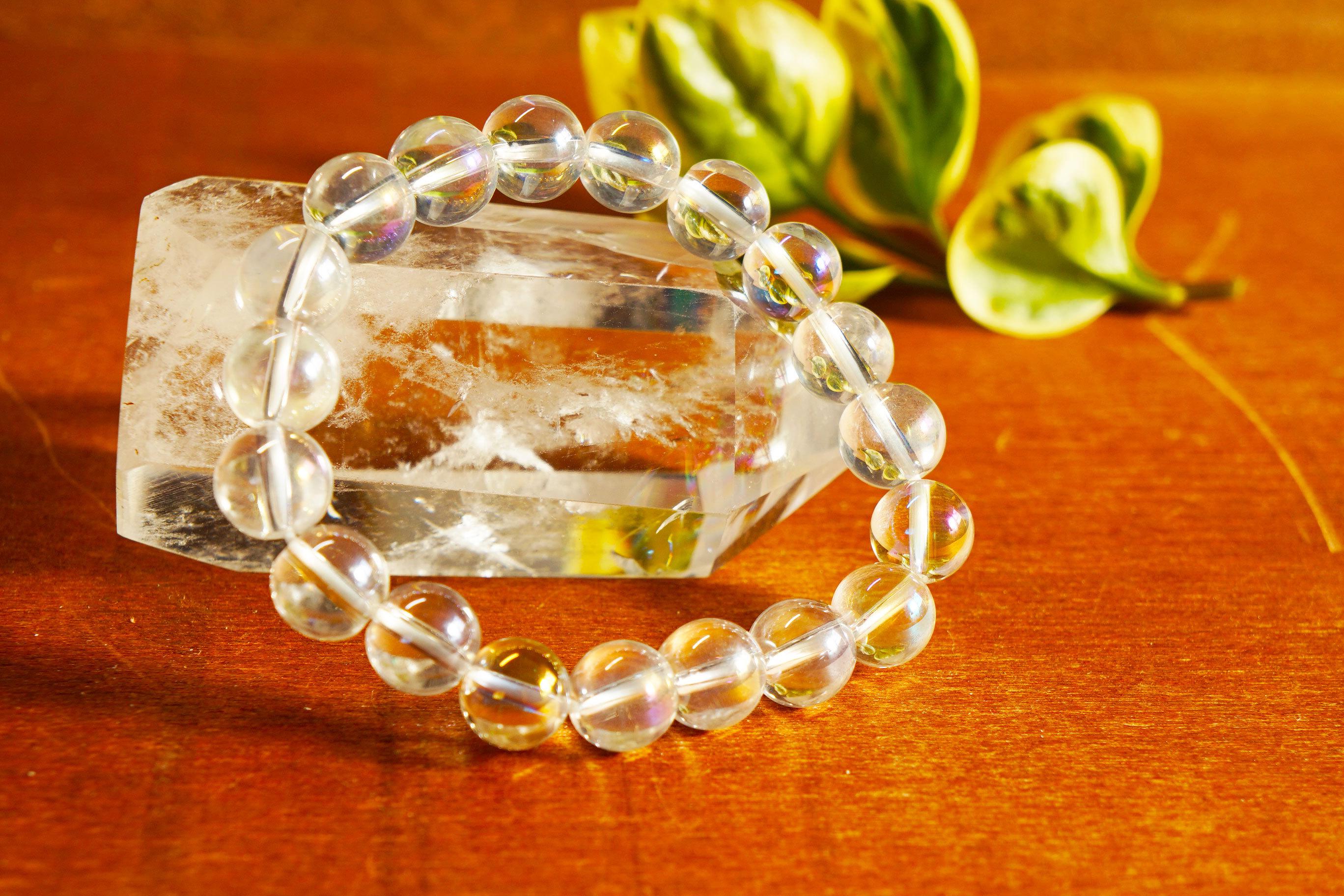 天然石 癒し浄化に⁉ コスモオーラ水晶  ブレスレット 10mm