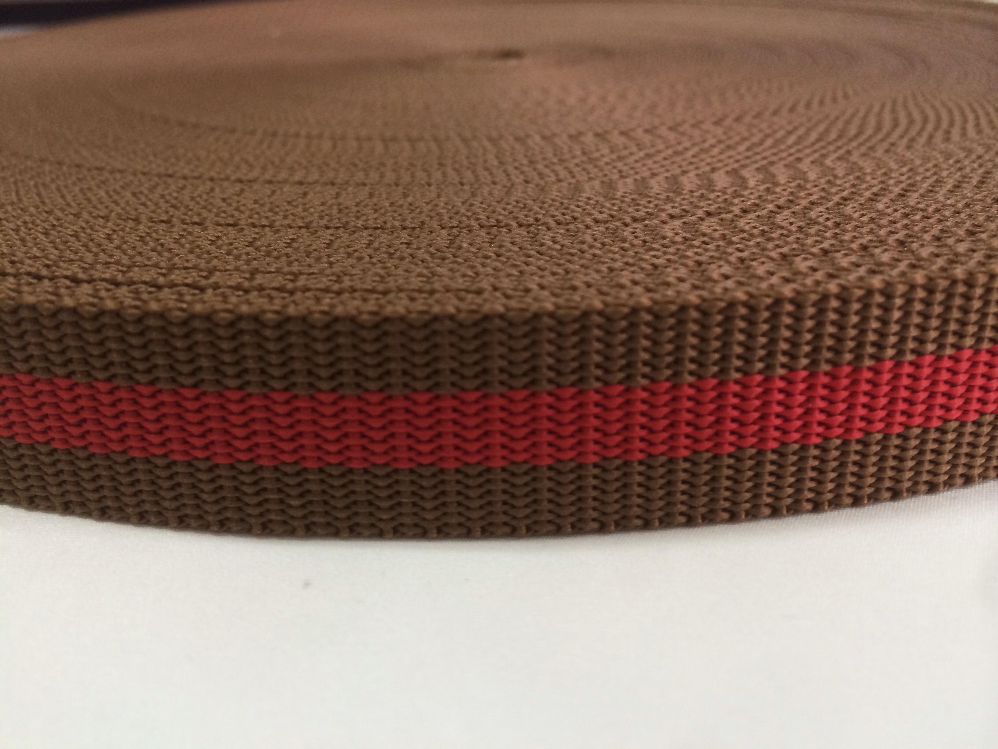 PP ストライプテープ 茶+赤 20mm 1.3mm厚 5m