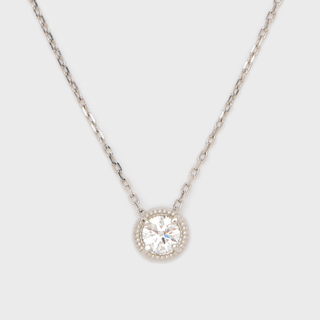 ENUOVE frutta Diamond Necklace K18WG(イノーヴェ フルッタ 0.2ct ミルグレイン ダイヤモンドネックレス  スライドアジャスターチェーン)