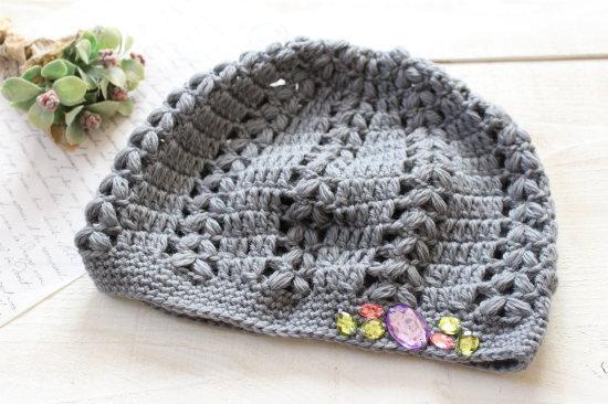 手編みニット帽*グレー アクリルビジュー/sakura 型番:NB-1