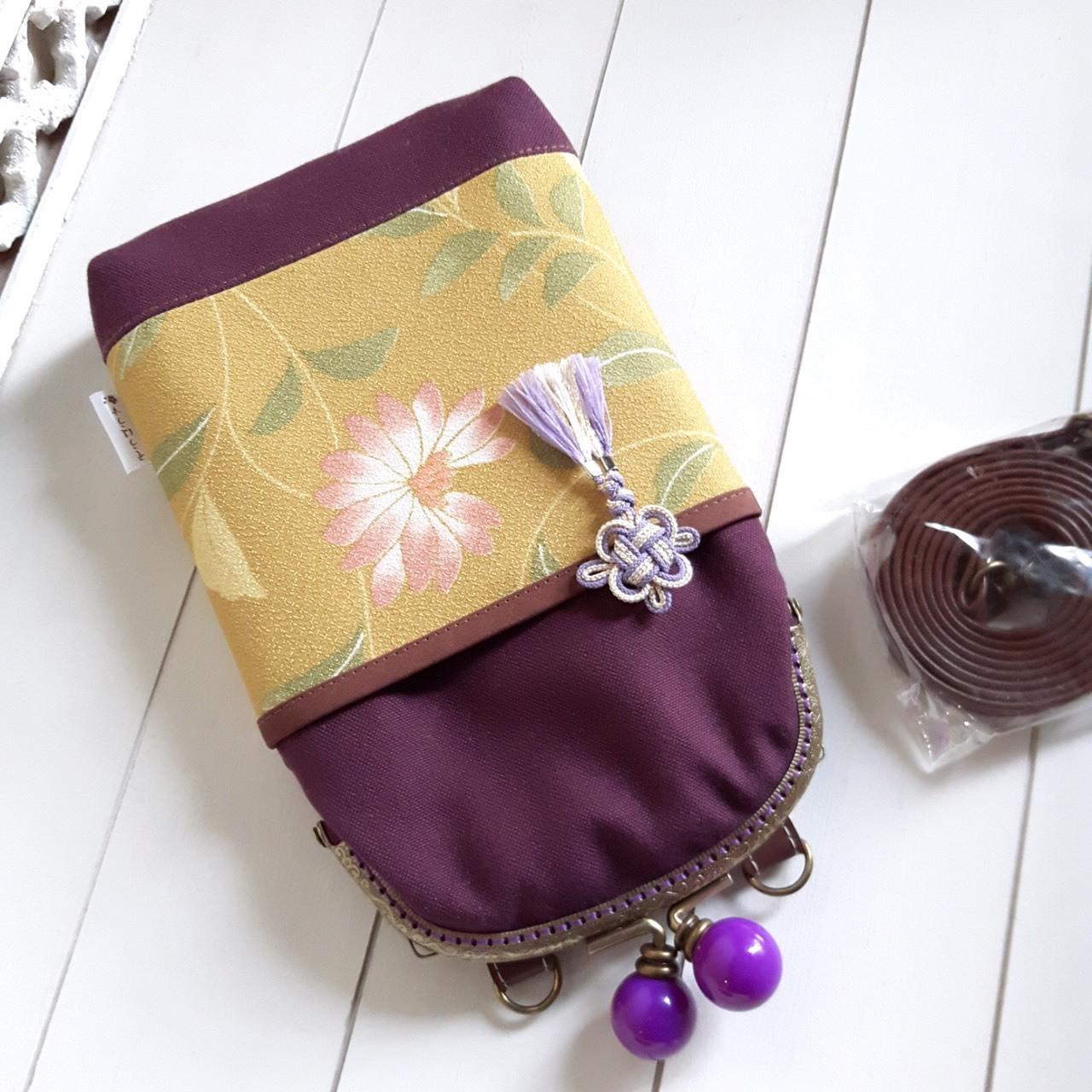 がま口 スマホポシェット(黄緑×紫)