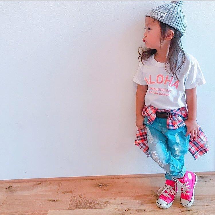 ★Kids★ ALOHA Tee - White/Pink