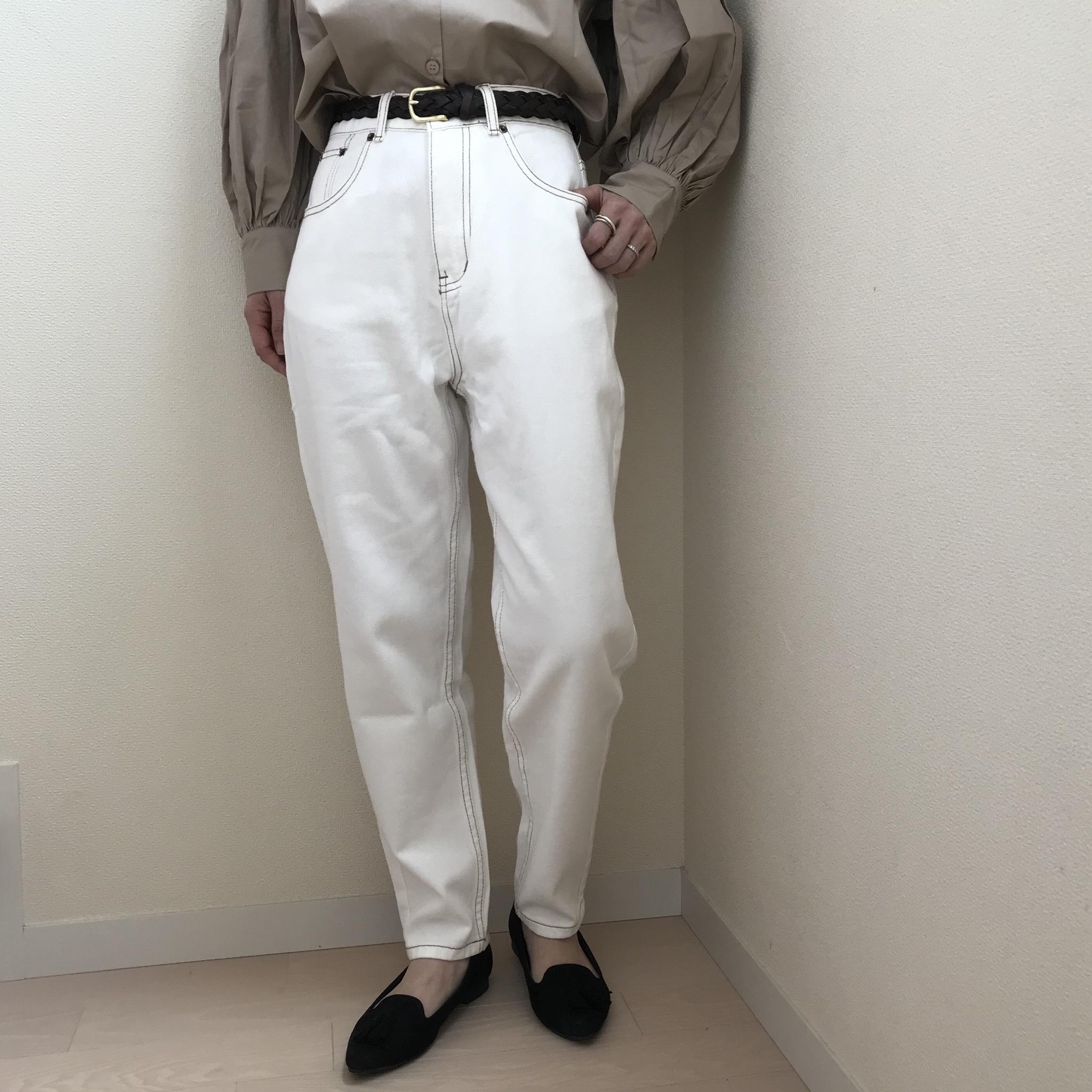 【レディース】ハイウエストコットンテーパードカーブパンツ【L016】