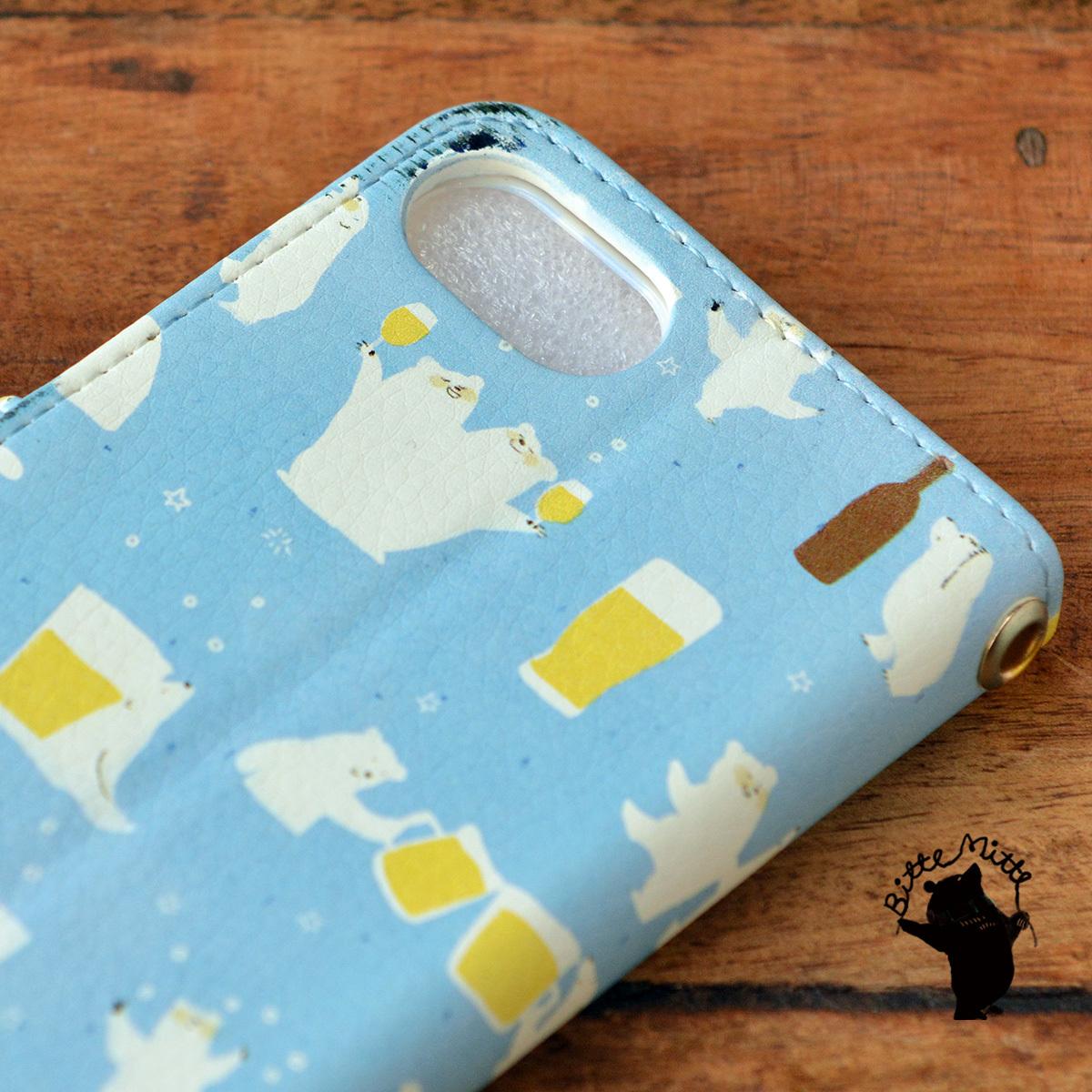 【訳あり】アイフォン6s ケース 手帳型 かわいい iphone6s ケース 手帳 大人かわいい iphone6s ケース 手帳 シンプル かわいい シロクマとビール/Bitte Mitte!【bm-iph6t-10089-B1】