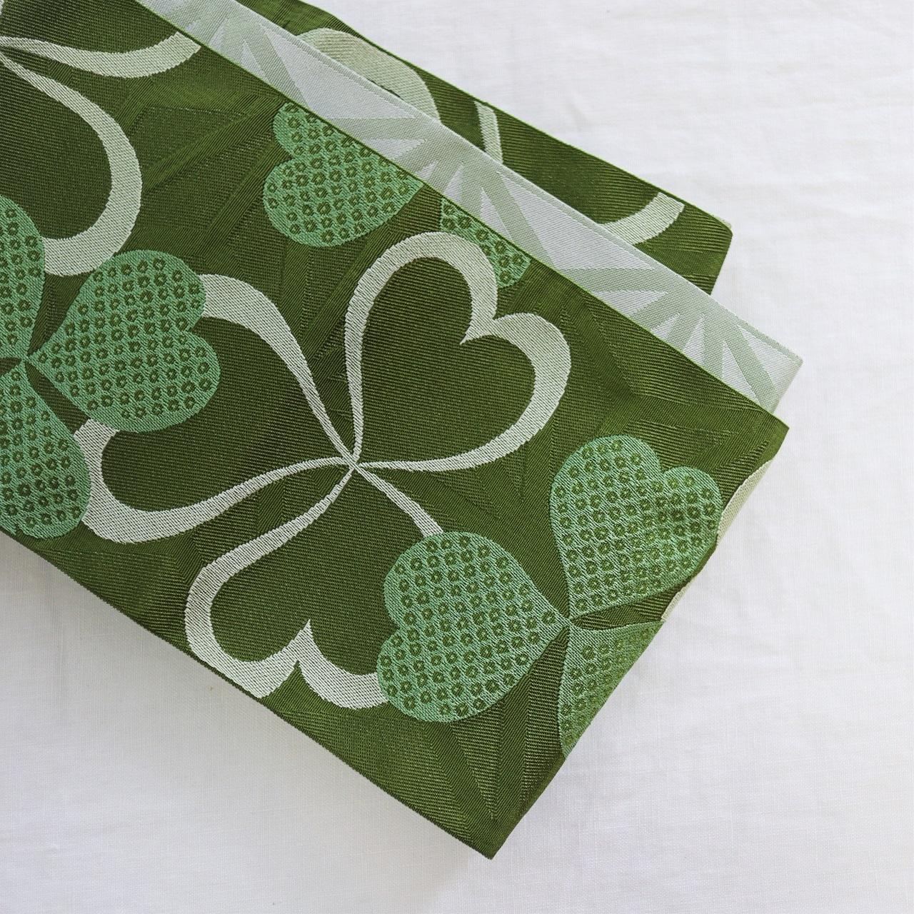 【半巾帯】グリーンのクローバ&シルバーグレーの麻の葉 / リバーシブル 3.6m