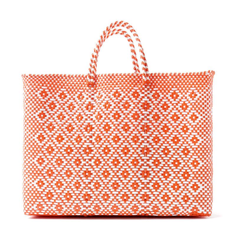 MERCADO BAG ROMBO - White x Orange(L)