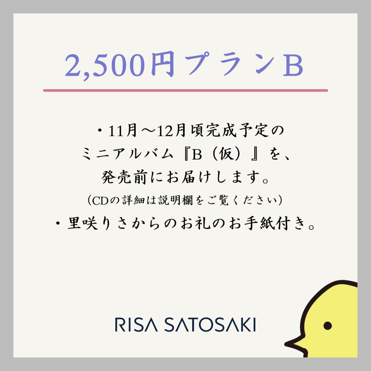 【ミニアルバム「B(仮)」事前購入プラン】2500円プランB