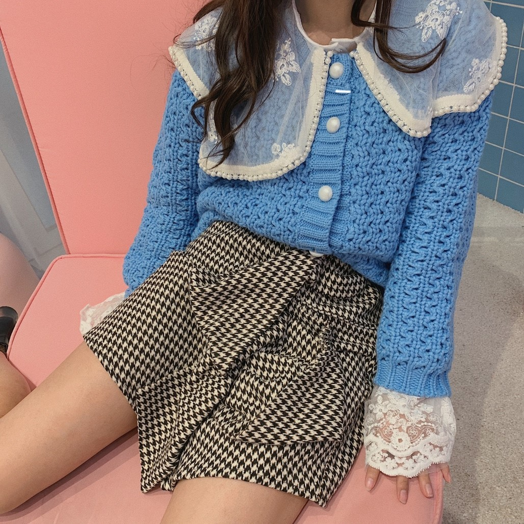 front button cardigan (orange/blue)