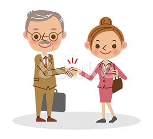 イラスト素材:握手をするビジネスマン/シニア男性と若い女性(ベクター・JPG)