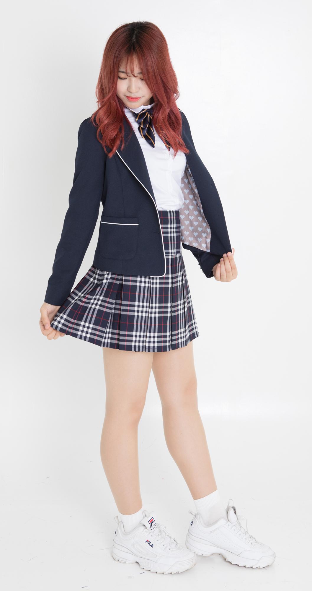 【レンタル3泊4日】ネイビーチェックシャツ&スカート【上下セット・ネクタイ1本無料】