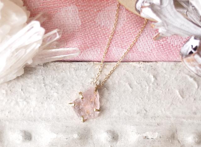 [一点物]原石のモルガナイトのネックレス