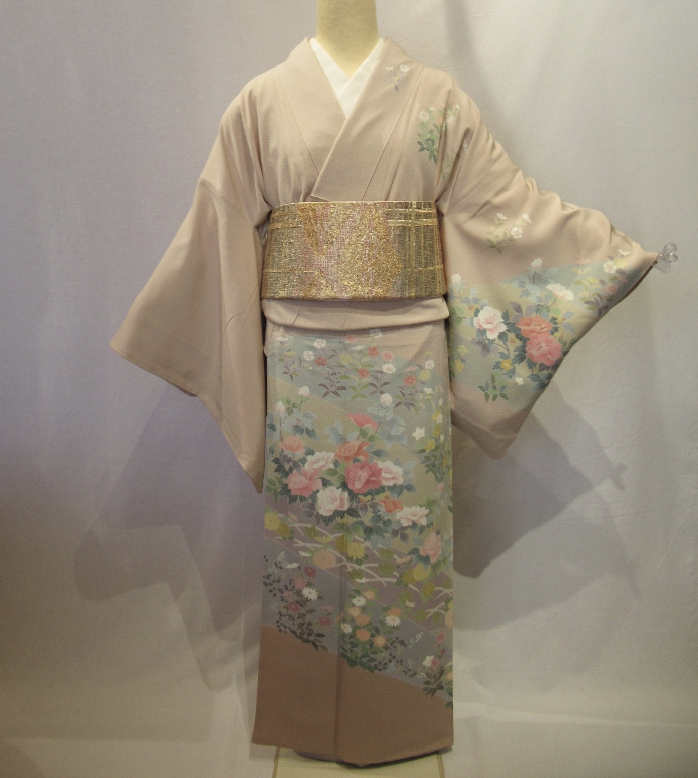 1955作家物加賀友禅訪問着と佐賀錦袋帯セット