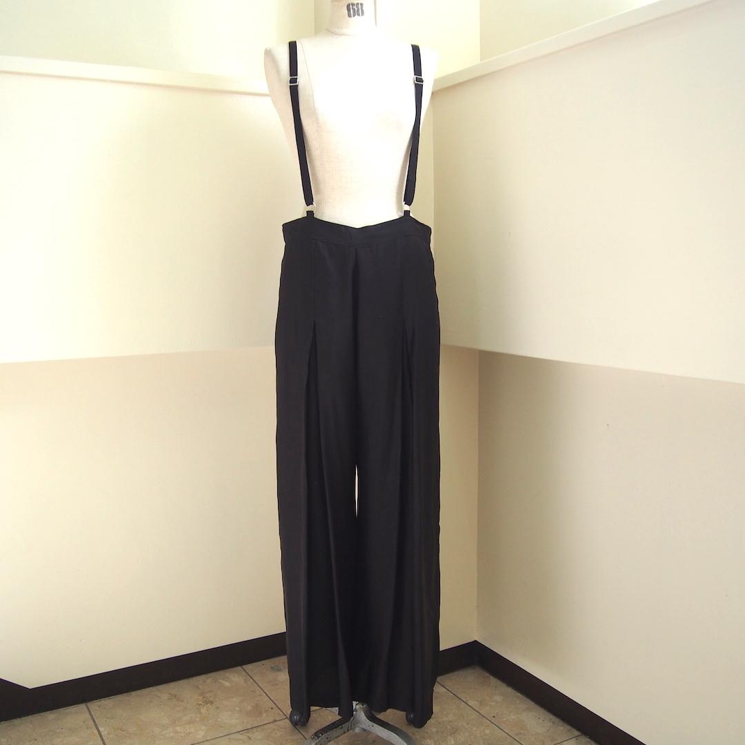 【hippiness】cupro suspender pants(black)/ 【ヒッピネス】キュプラ サスペンダー パンツ (ブラック)