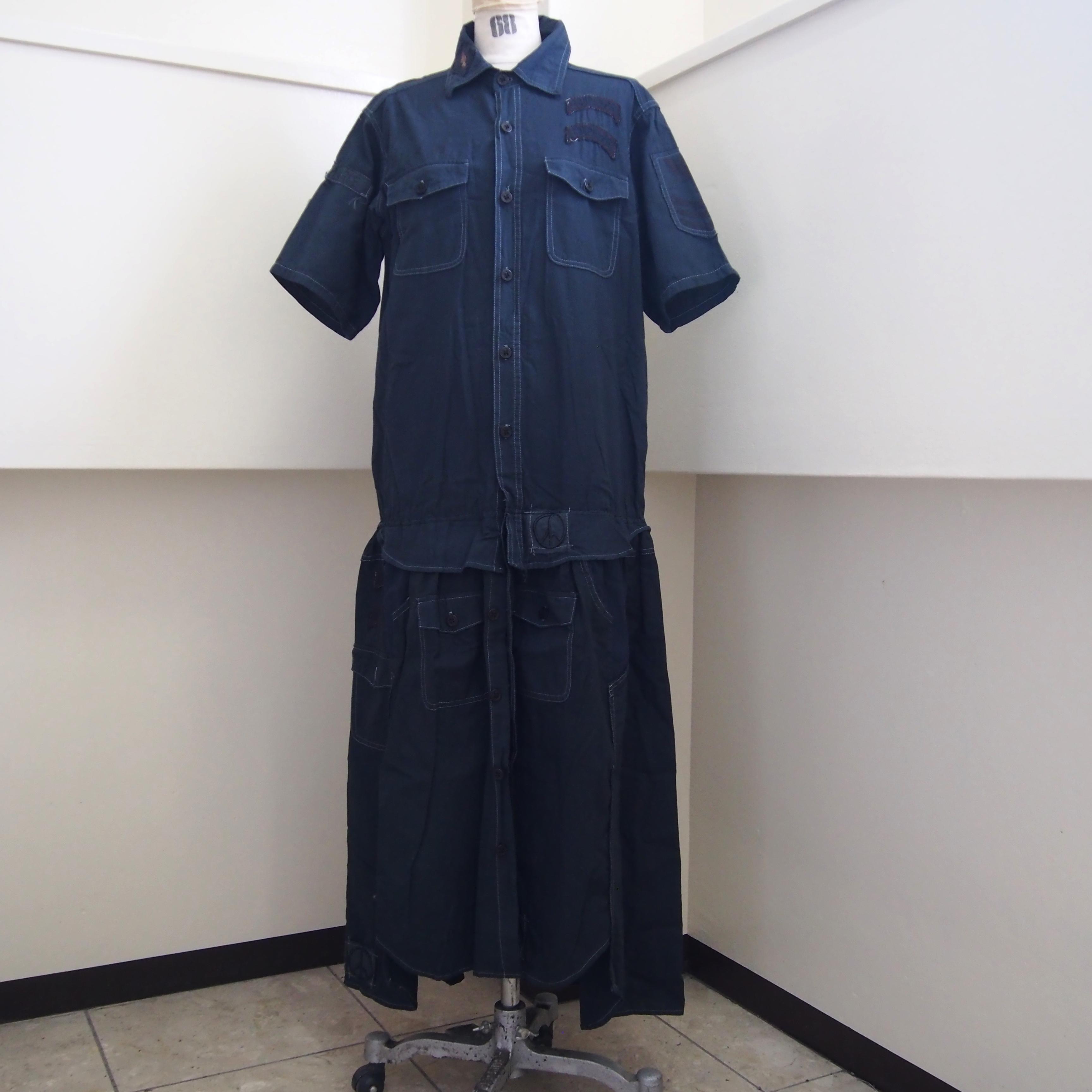 【sandglass】dark night shirt custom one piece(A) / 【サンドグラス】ダークナイト シャツ カスタム ワンピース(A)