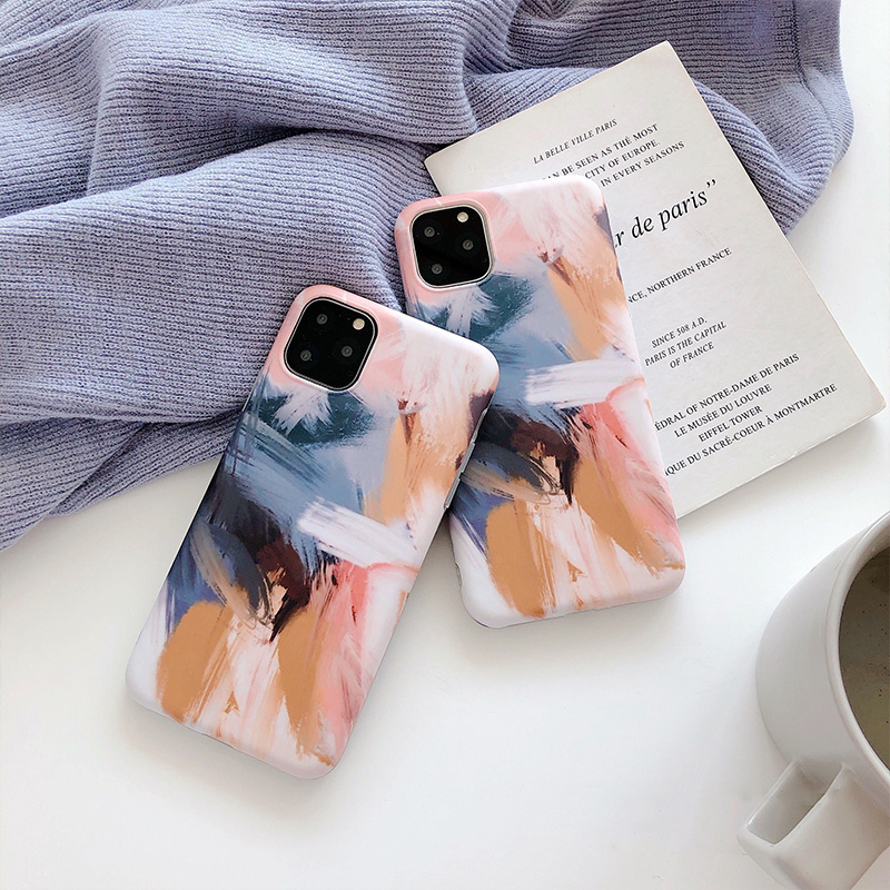 【お取り寄せ商品、送料無料】絵の具 油絵調 マット ソフト iPhoneケース iPhone11