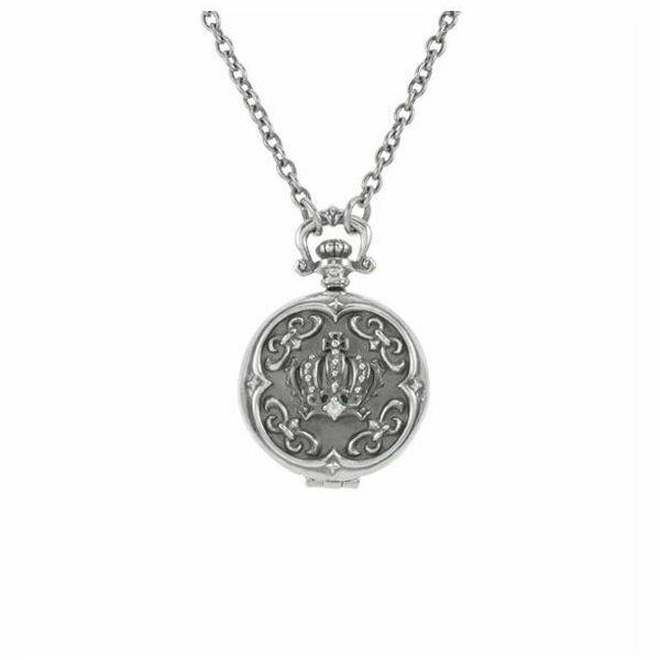 クラウンクロックペンダント ロケットペンダント シルバーネックレス AKP0095 Crown clock pendant locket pendant silver necklace
