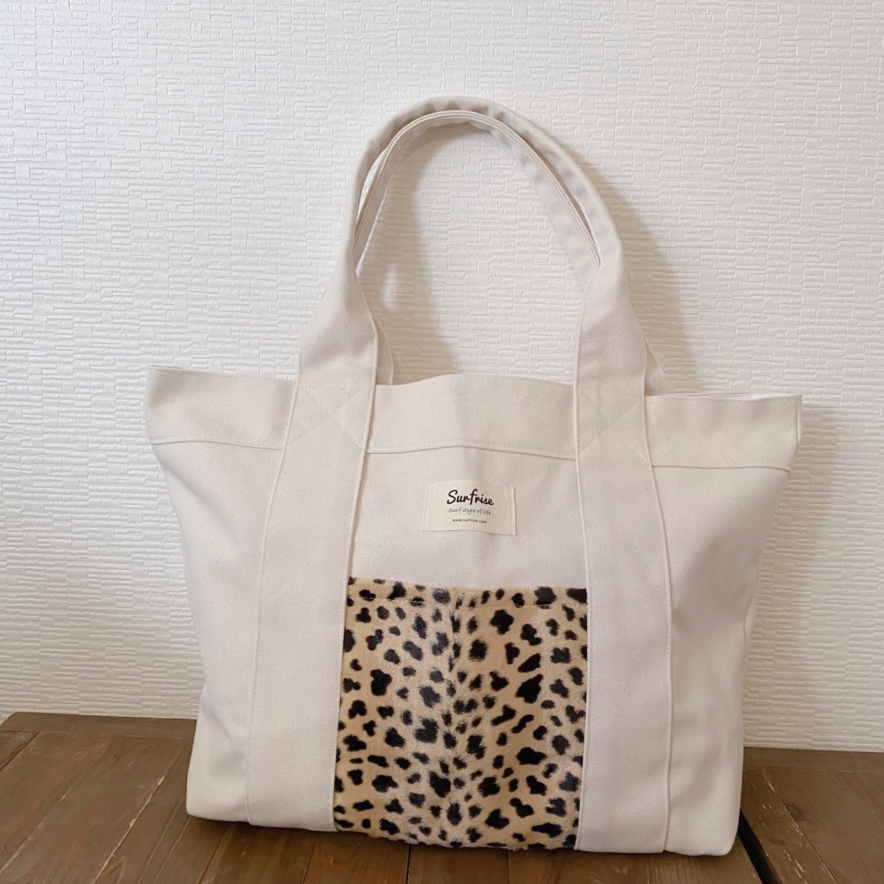 Tote bag L - White / Cheetah