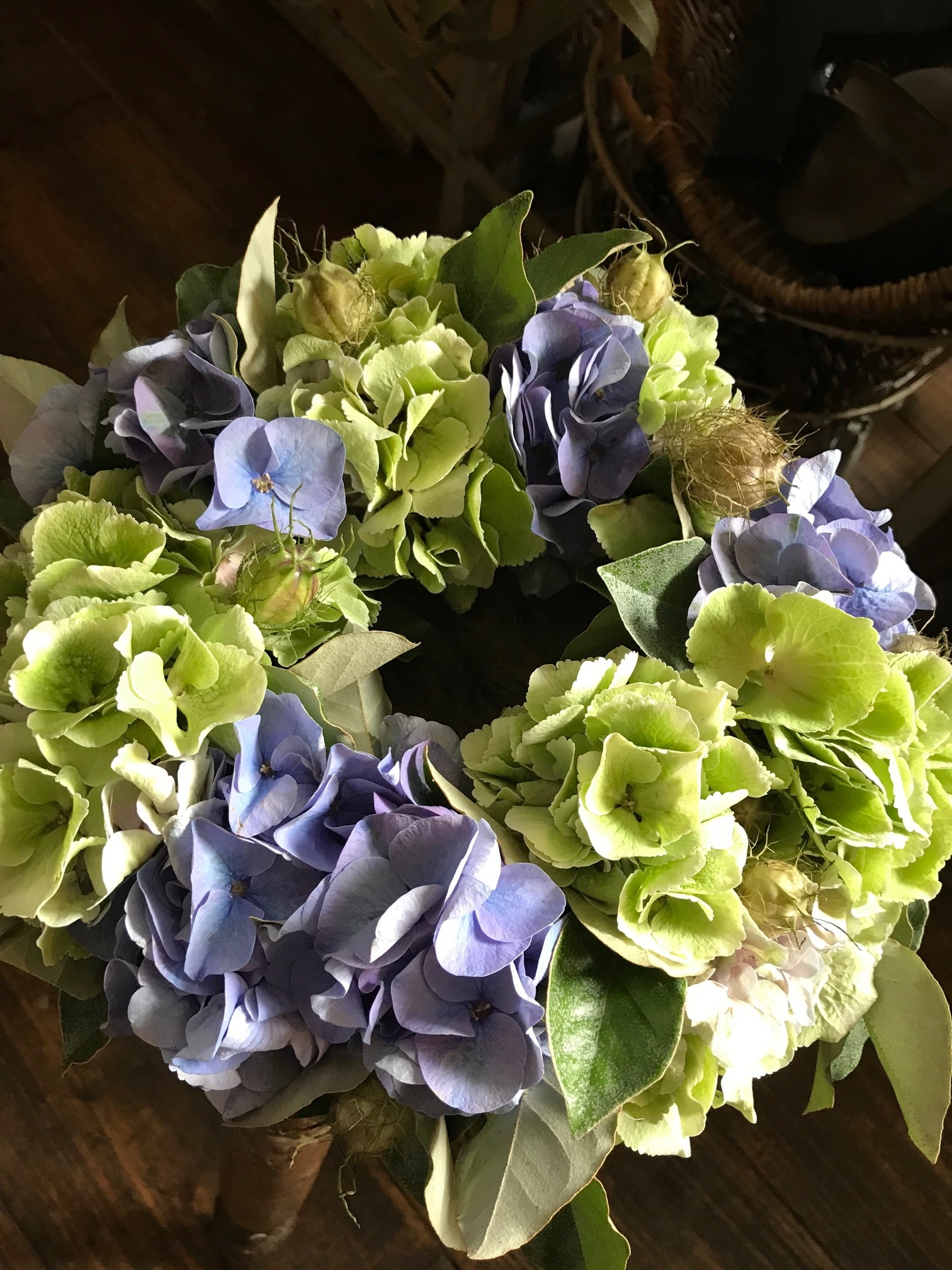 hydrangia wreath(秋色アジサイのリース›