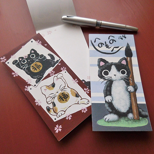 (184) 日本製 のあぷらす 一筆箋 猫柄 便箋 ネコ 便せん メモ 文房具 【レターパックライト可】
