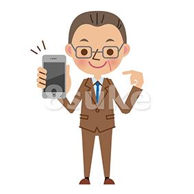 イラスト素材:スマートフォンを持つ中年のビジネスマン(ベクター・JPG)