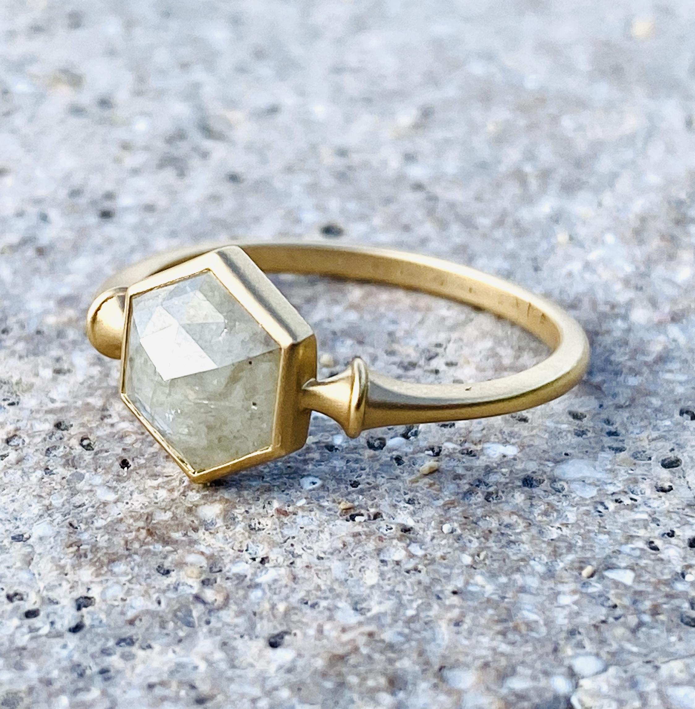 natural white diamond ring / K18YG