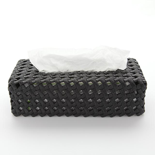 【受注製作可 お問い合わせ下さい】カゴティッシュケース(黒)