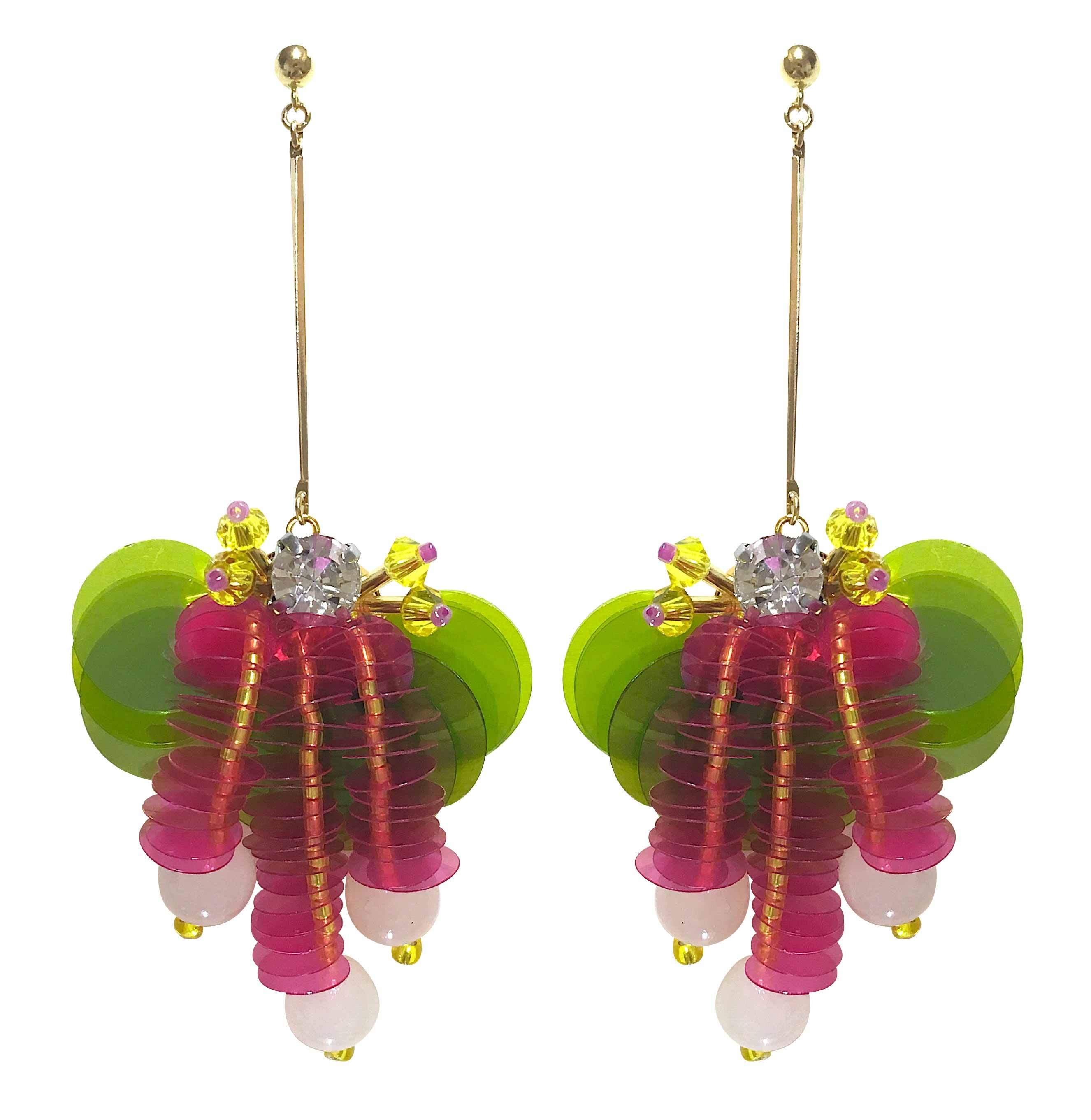 ぶどう耳飾り・黄緑×ピンク