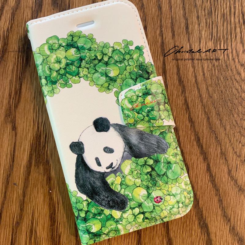 iPhone8.7対応 「四つ葉のリースシャンシャン」柄◆パンダデザインスマホカバー◆