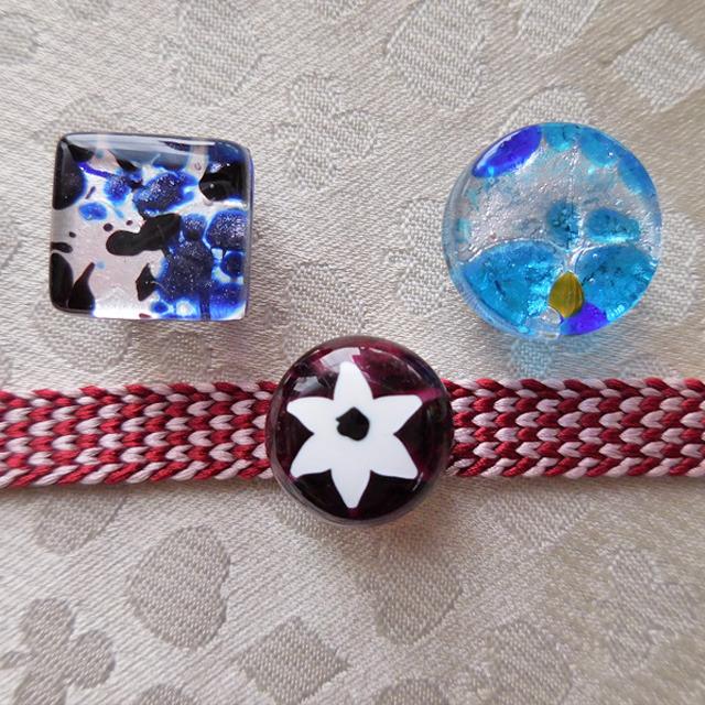 (1) 小さな小さな帯留め ベネチアンムラーノグラス 和装小物 【レターパックライト可】