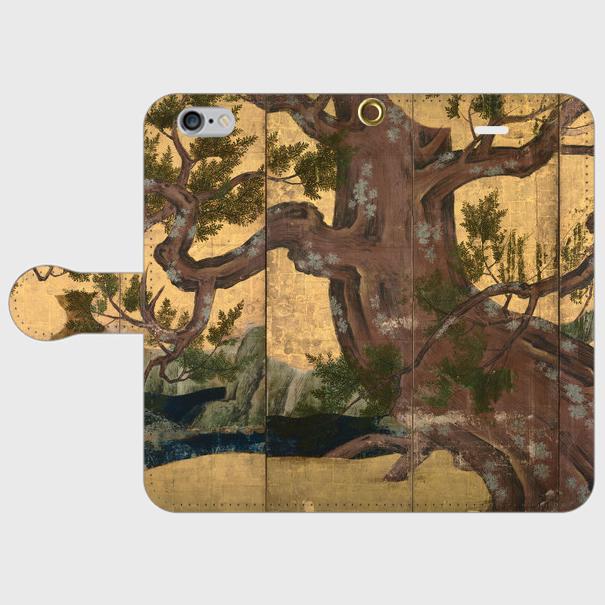 狩野永徳「檜図屏風」 手帳型スマホケース