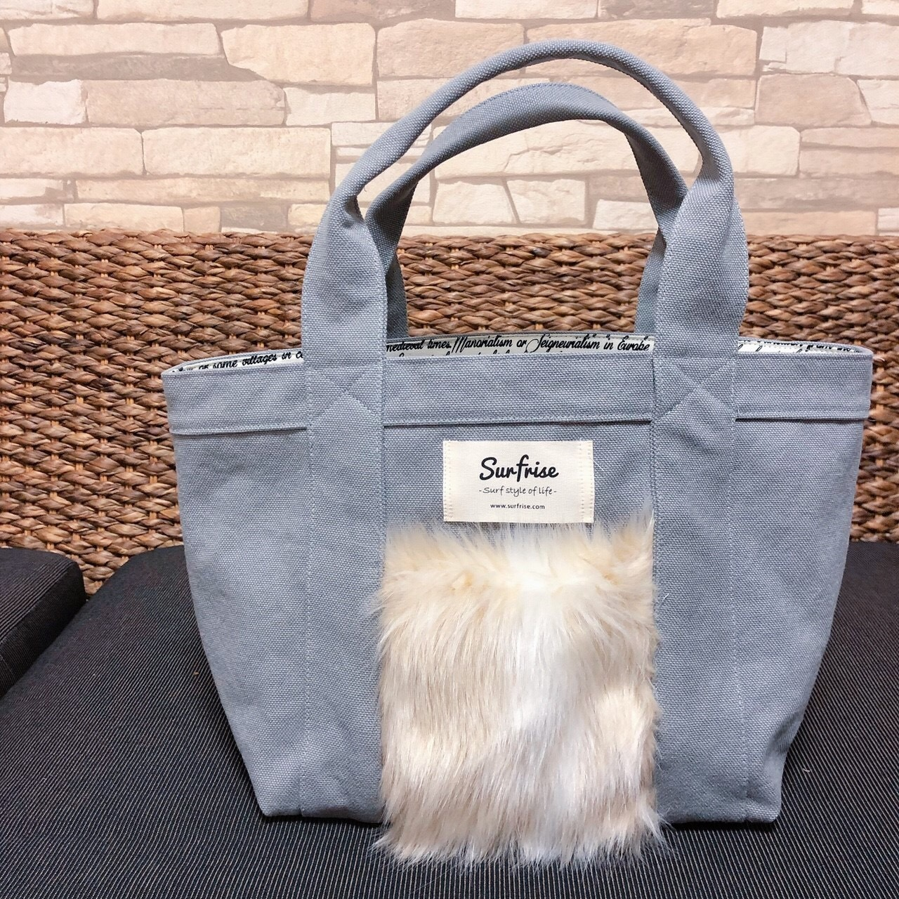Fake fur Pocket Tote bag S - Light gray