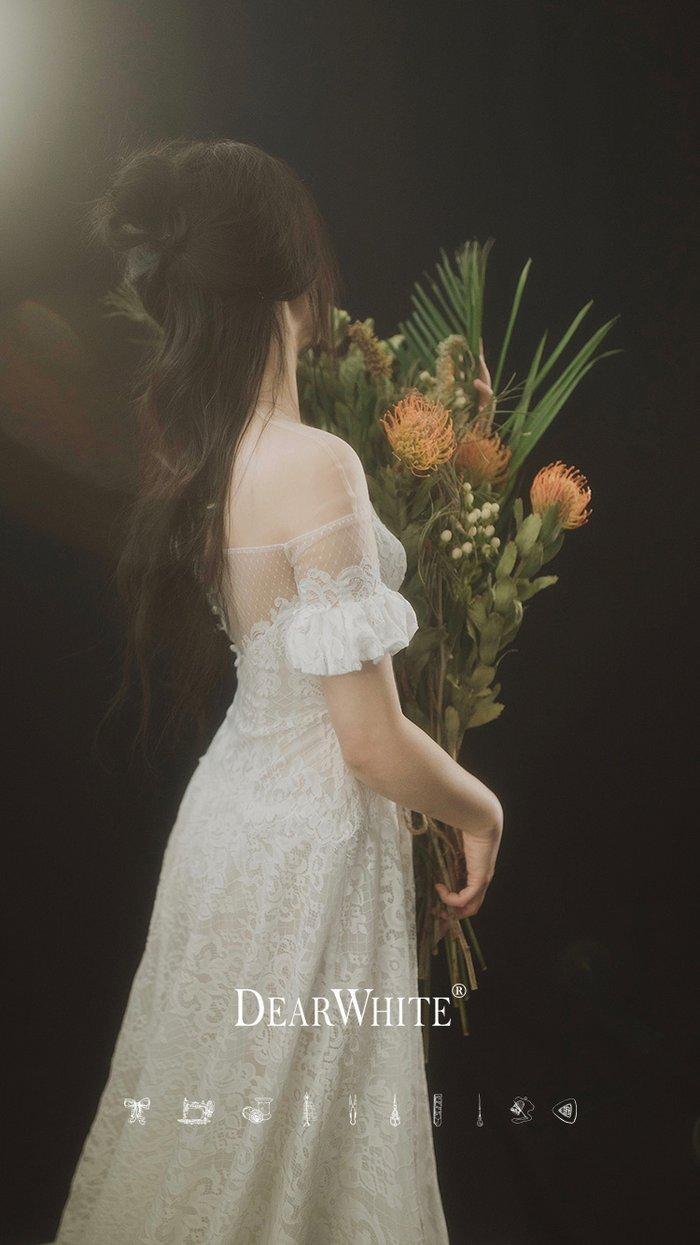 dw_b_29【DearWhite】ウェディングドレス Aライン プリンセス エンパイア デコルテ 結婚式 披露宴 二次会 パーティーウェディングドレス・カラードレス・サイズオーダー格安オーダーメイド DW00050