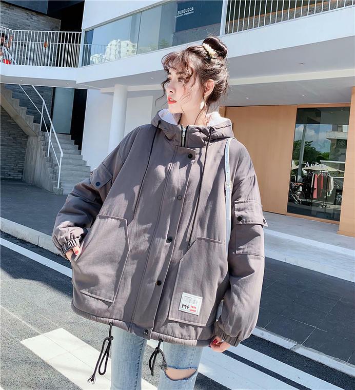 【送料無料】 あったかジャケット♡ オーバーサイズ フード付き 裏地ボア ミリタリー ジャケット アウター