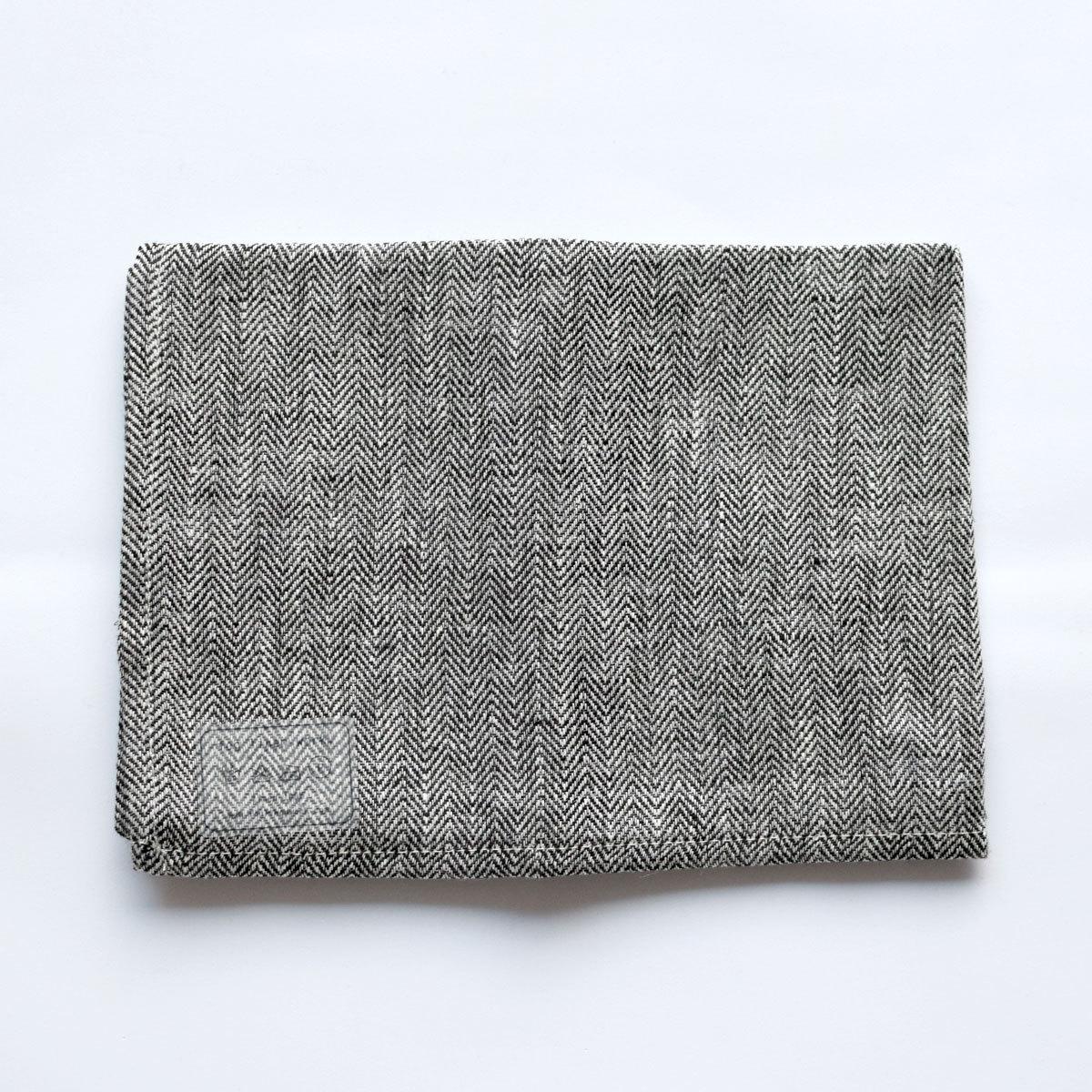 fog linen work(フォグリネンワーク)リネンキッチンクロス ヘリンボーンブラック