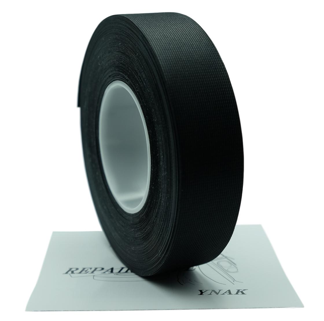 YNAK テント ザック タープ シート レインウェアー 補修 メンテナンス 用 強力 トリコット 表面布状 アイロン式 3レイヤー適合 説明書付き シームテープ (ブラック,幅25mm×20m)