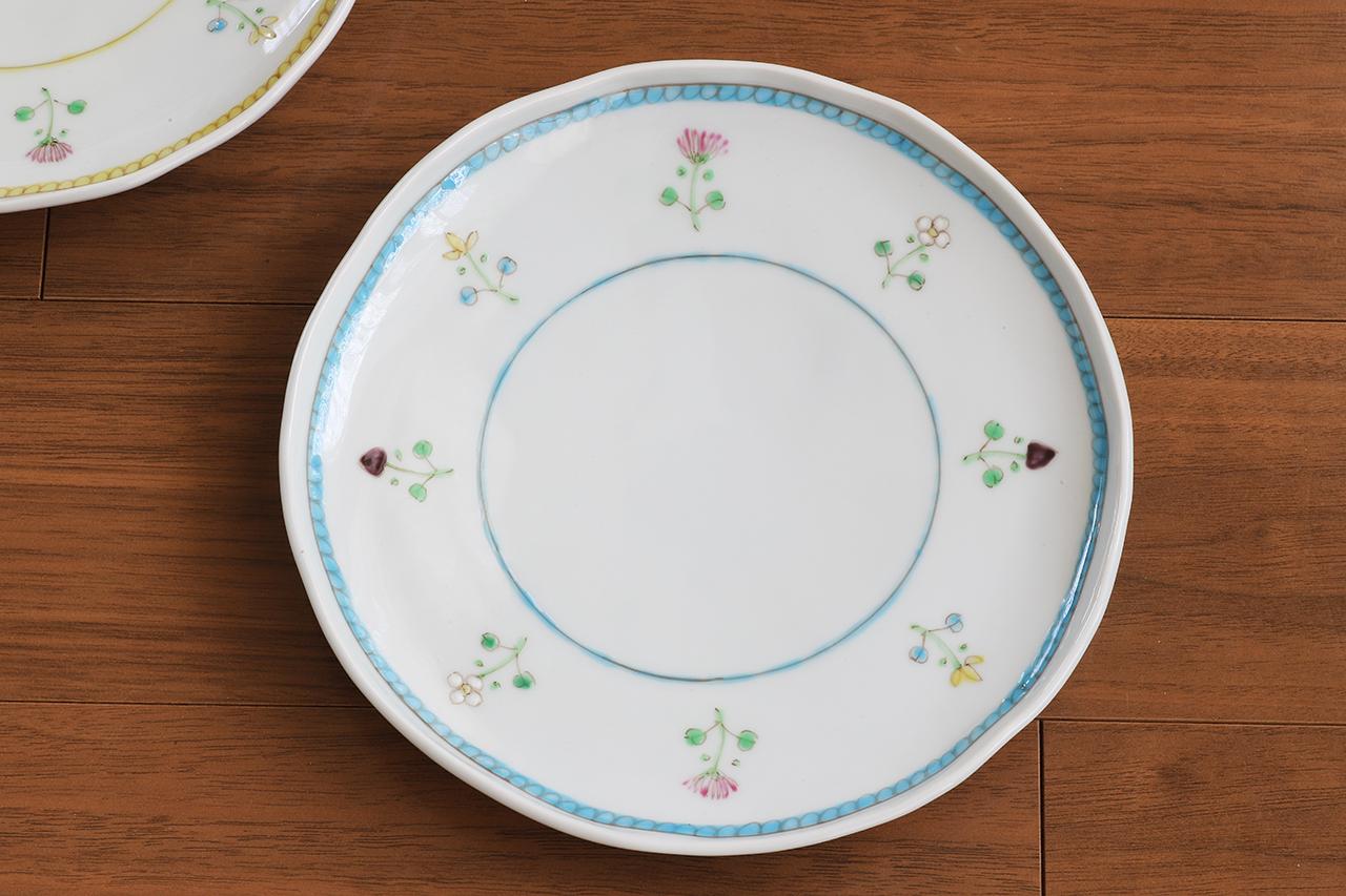 藍水 花暦(水色) 6寸皿 直径約18cmパン皿に使える大きさの器 うつわ藍水(波佐見焼)