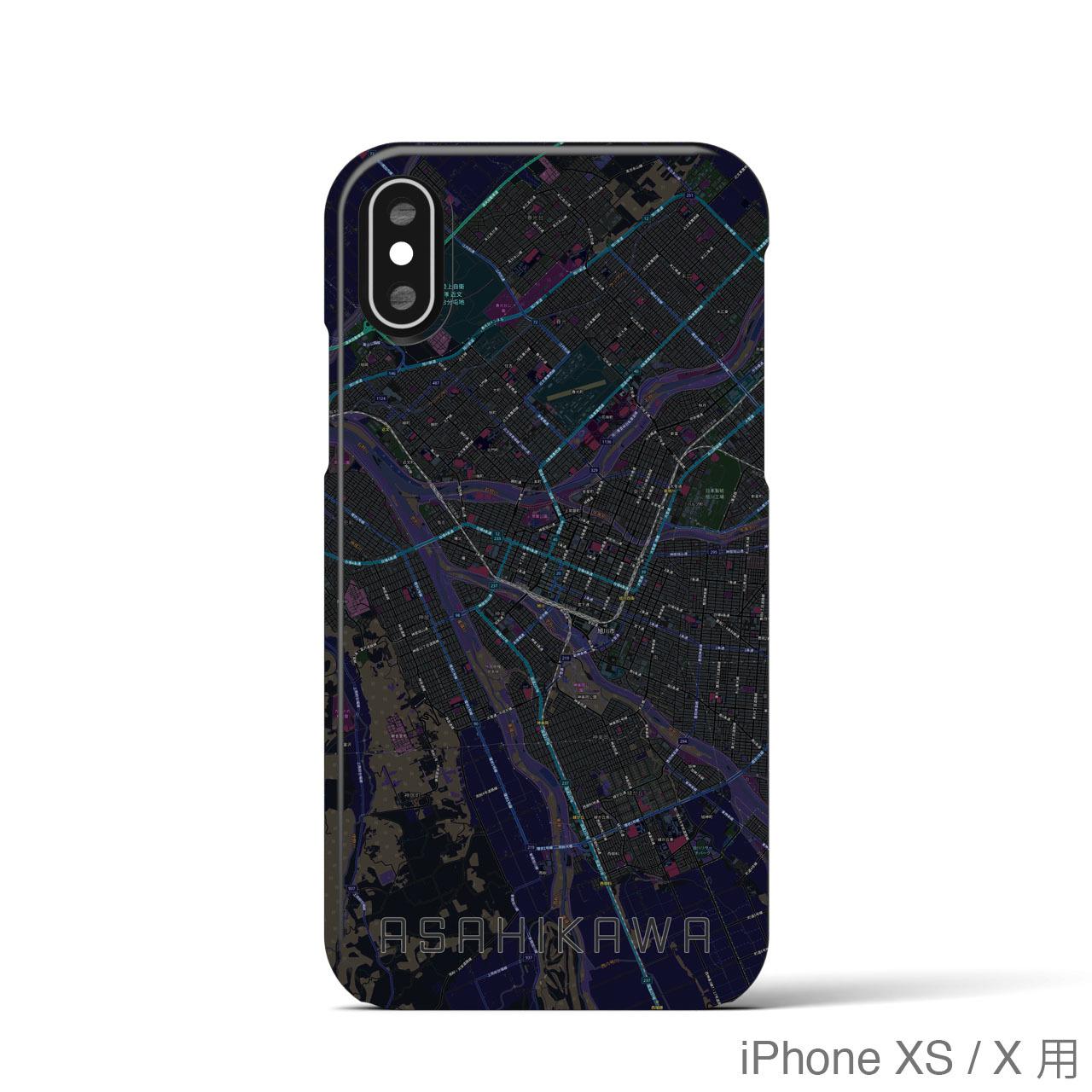 【旭川】地図柄iPhoneケース(バックカバータイプ・ブラック)