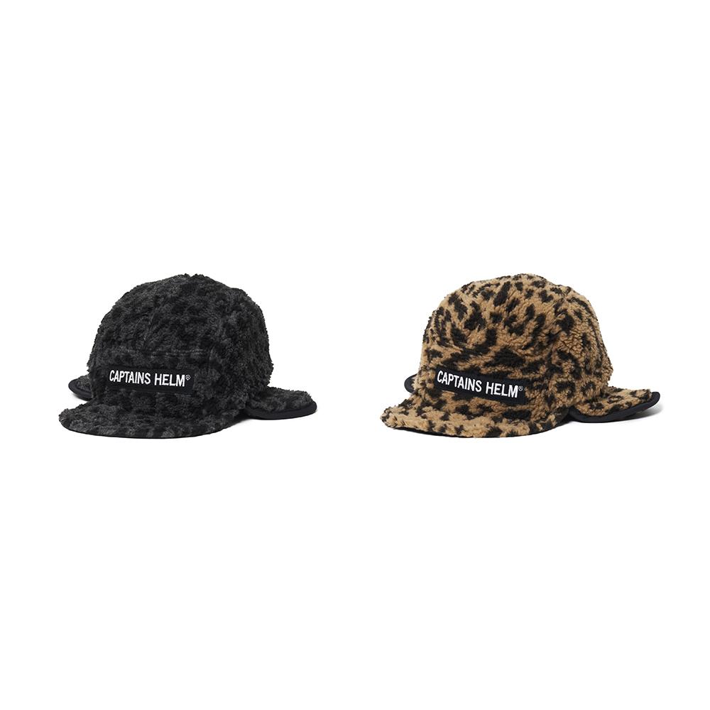 CAPTAINS HELM #Leopard Boa Fleece Flap Cap
