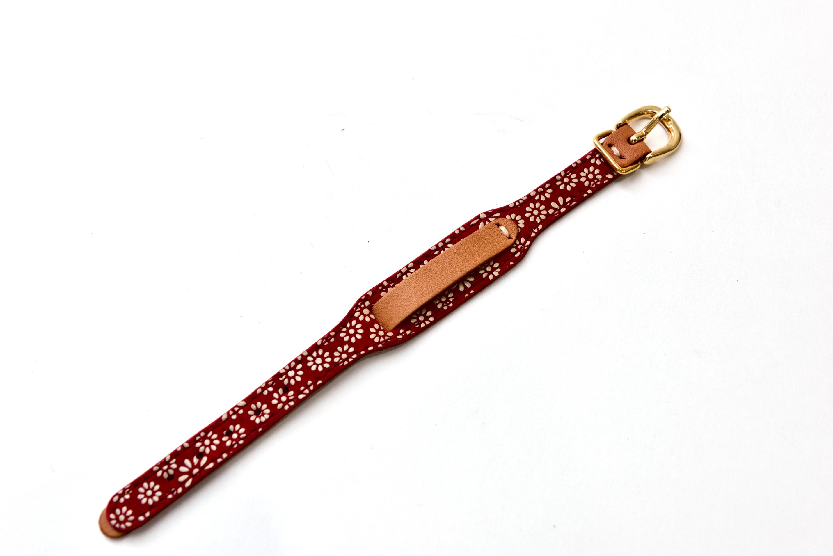 印伝腕時計バンド 小菊 赤革×白漆×ベージュ