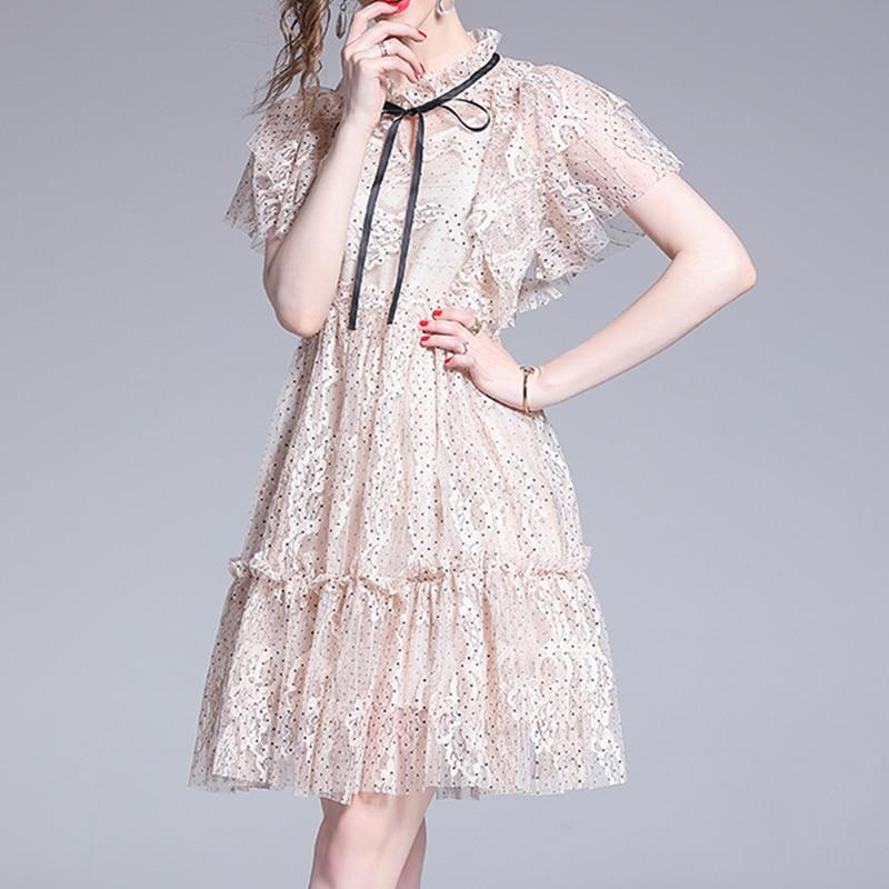 ドットシースルーレースドレス