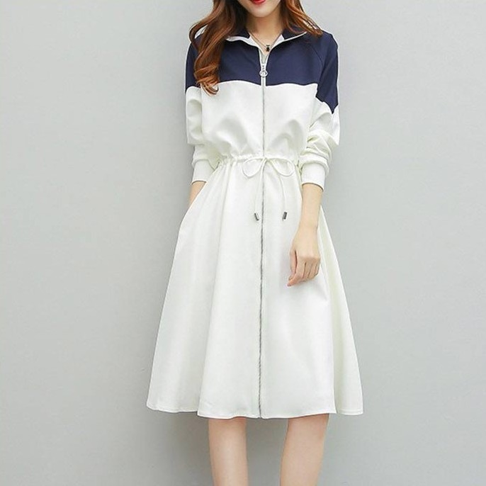 【dress】切り替え配色ウエスト絞り長袖折り襟デートワンピース22598278