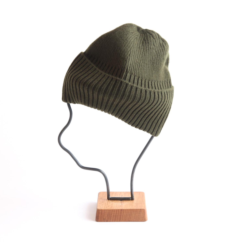 mature ha./long rib knit cap olive