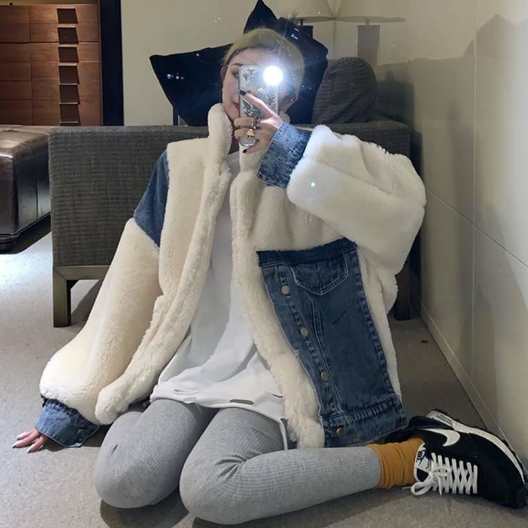 【送料無料】ファー × デニム ♡ 大人可愛い カジュアル オーバーサイズ  ボリューム ファー コート ブルゾン アウター