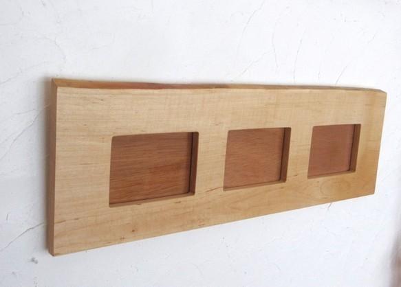 北海道のカエデの木で作りました・耳付きフォトフレーム(Lサイズ・3連)