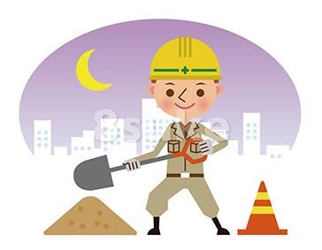 イラスト素材:シャベルを持って働く作業員(夜間背景)(ベクター・JPG)